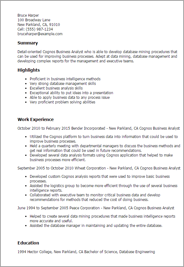Cognos Business Analyst Resume Templates Try Them Now