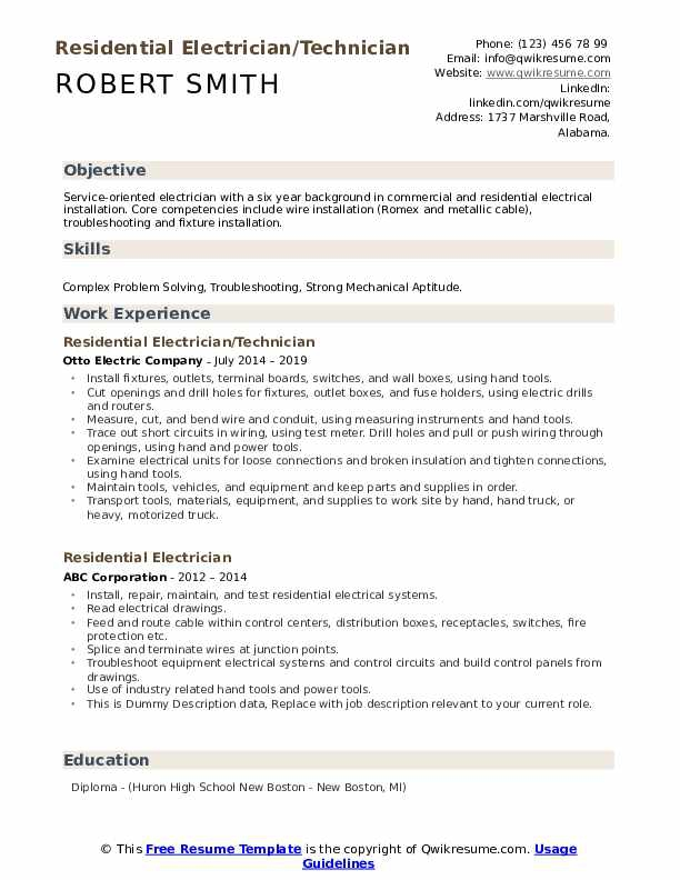 Commercial Electrician Resume Samples