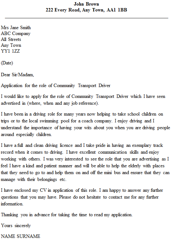 Community Transport Driver Cover Letter Example