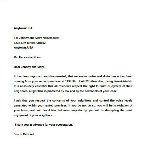 Noise Complaint Letter To Residents