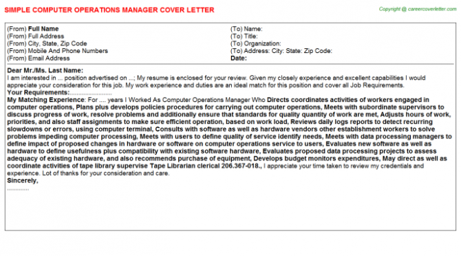 Computer Operations Manager Cover Letter