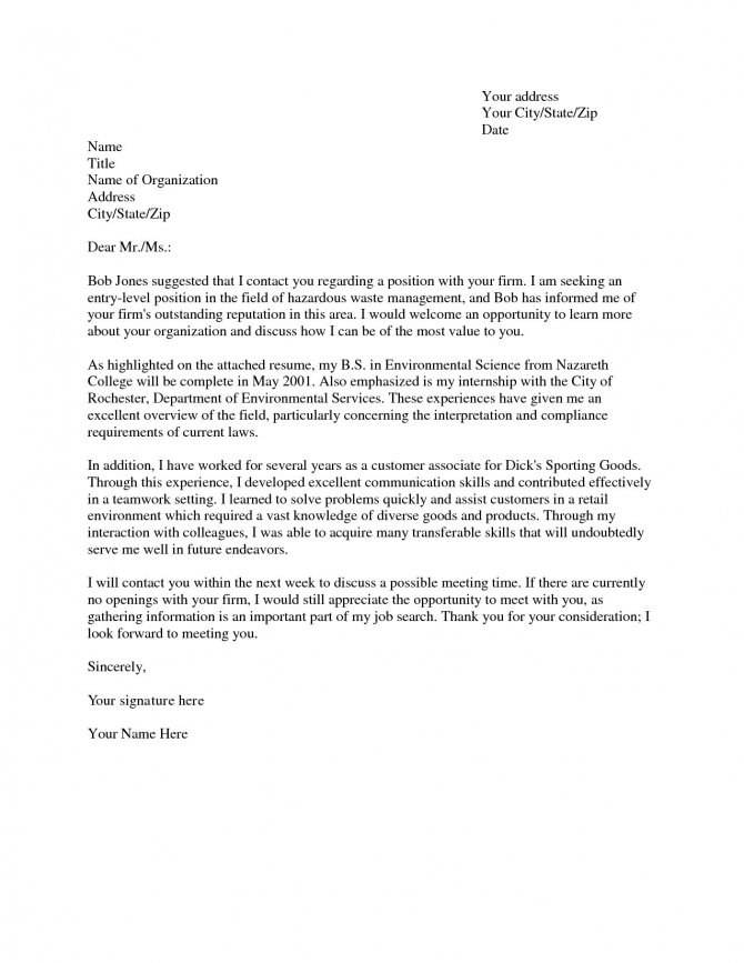 Computer Science Cover Letter Entry Level Senior Scientist