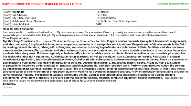 Computer Science Teacher Cover Letter
