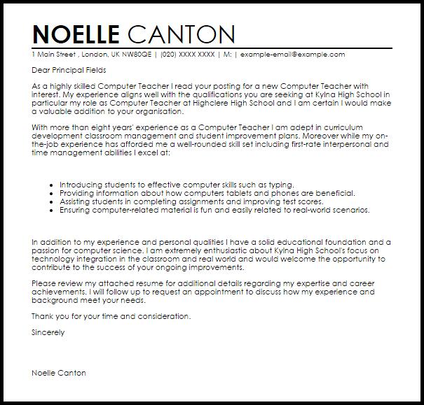 Computer Teacher Cover Letter Sample