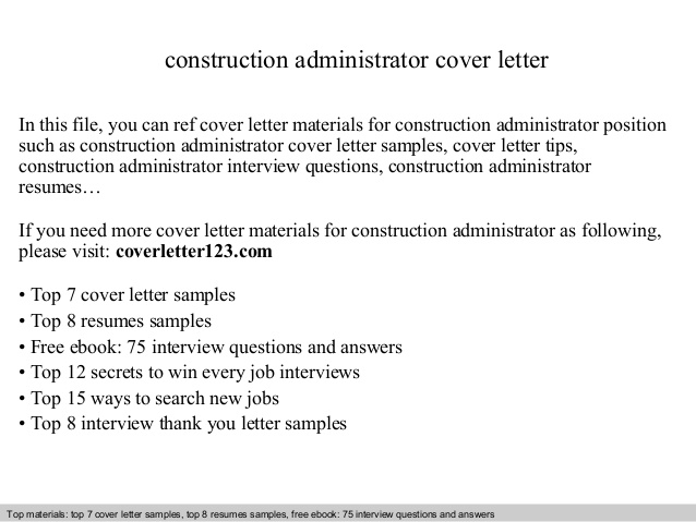 Construction Administrator Cover Letter