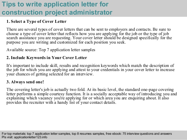Construction Project Administrator Application Letter