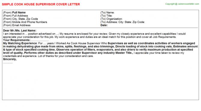 Cook House Supervisor Cover Letter