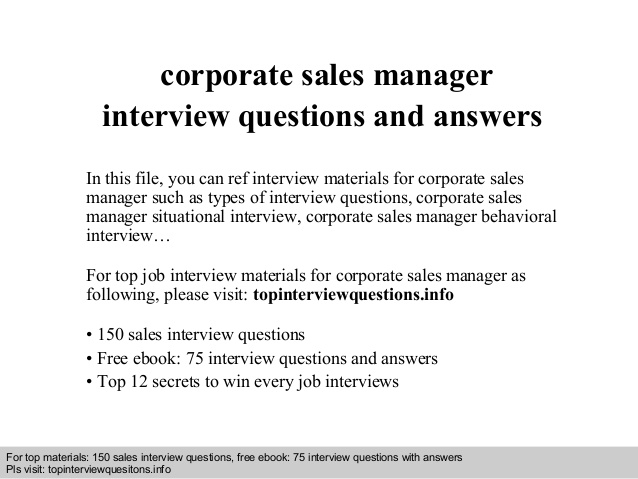 Corporate Sales Manager Interview Questions And Answers