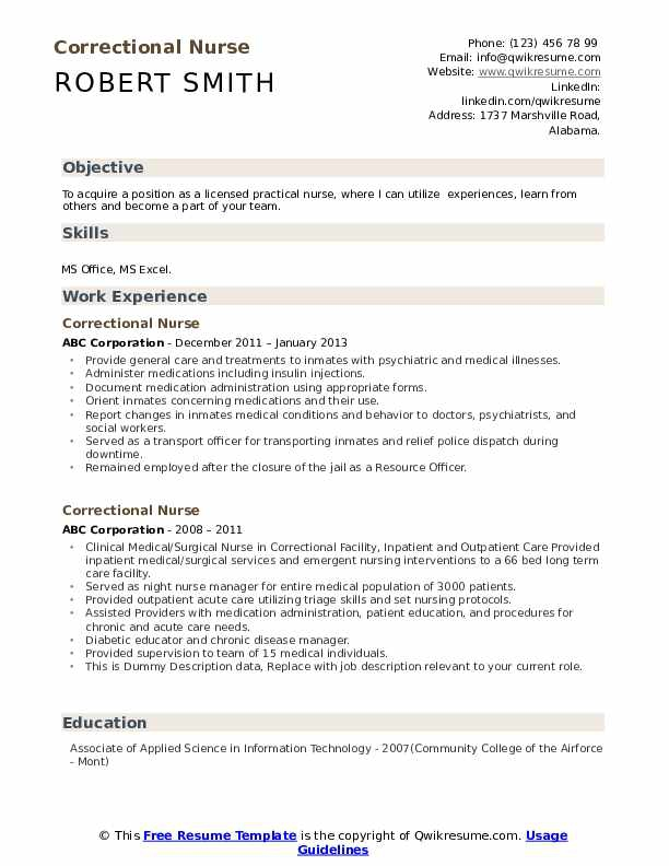 Correctional Nurse Resume Samples