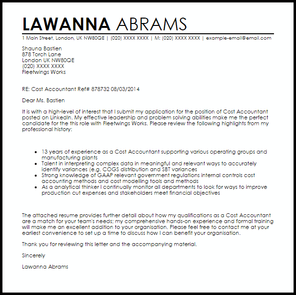 Cost Accountant Cover Letter Sample