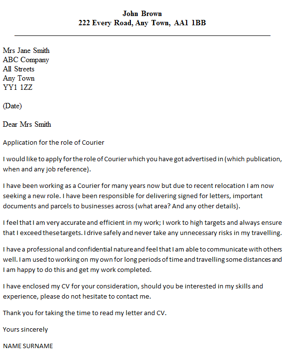 Courier Cover Letter Example