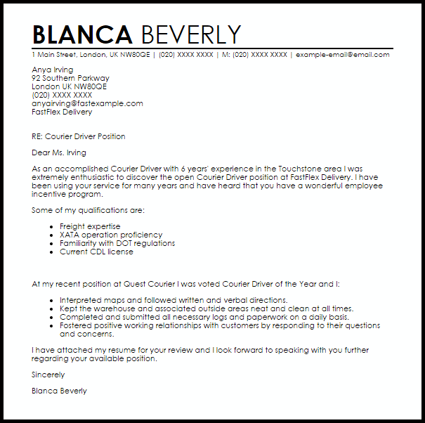 Courier Driver Cover Letter Sample Livecareer Train Example Icover