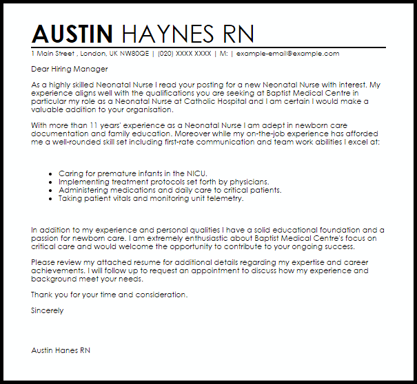 Cover Letter For A Neonatal Nurse