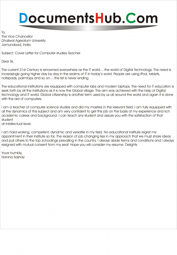 Cover Letter For Computer Studies Teacher