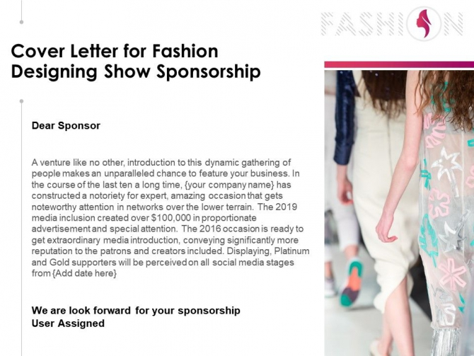 Cover Letter For Fashion Designing Show Sponsorship Powerpoint