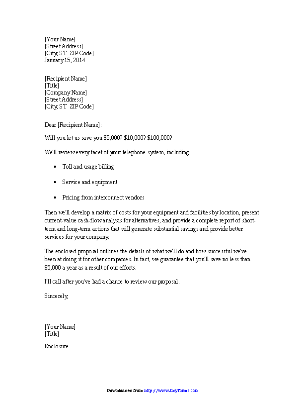 Cover Letter For Proposal From Service Consultant