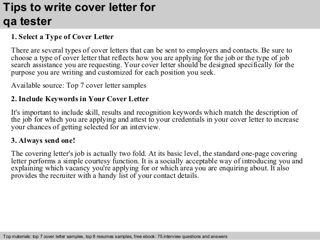 Cover Letter For Quality Assurance Tester