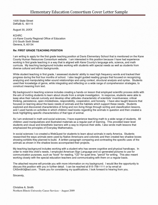Cover Letter For Special Education Teacher Position Cover Letter