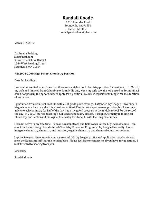 Cover Letter For Teaching Position  Cover Letter For Teaching