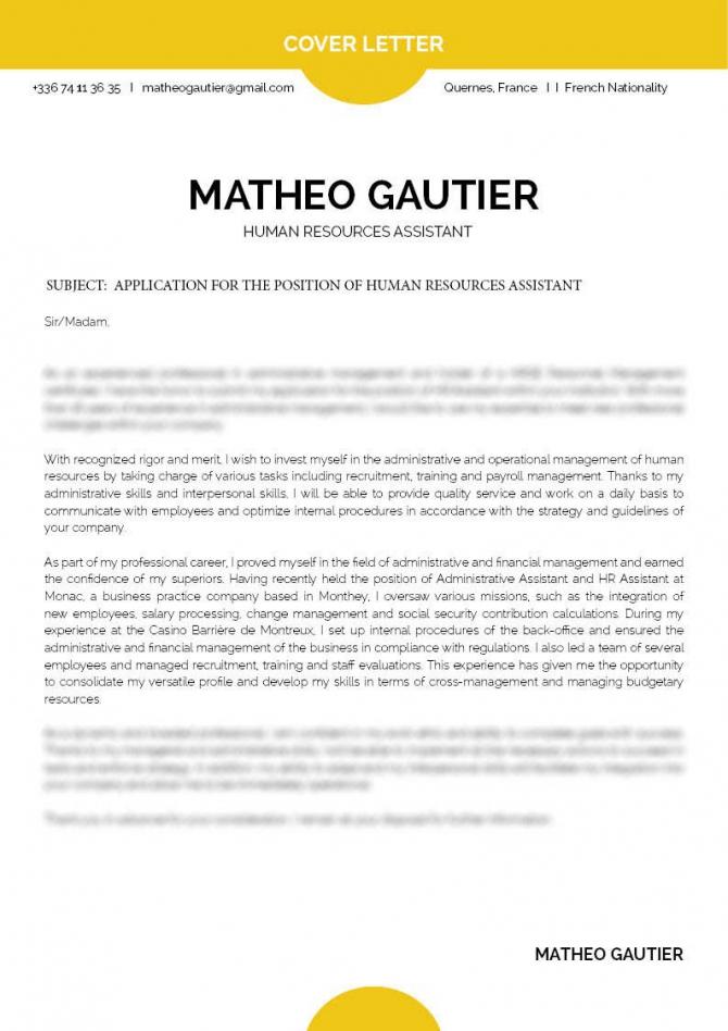 Cover Letter Human Resources  Mycvfactory