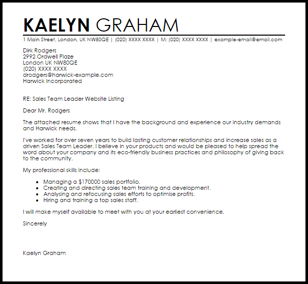 Cover Letter Sample Team Leader Position