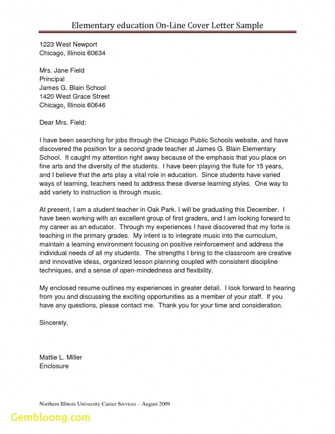 Cover Letter Template Elementary Teacher