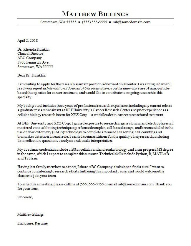 Cover Letter Template Research Assistant   Assistant Cover