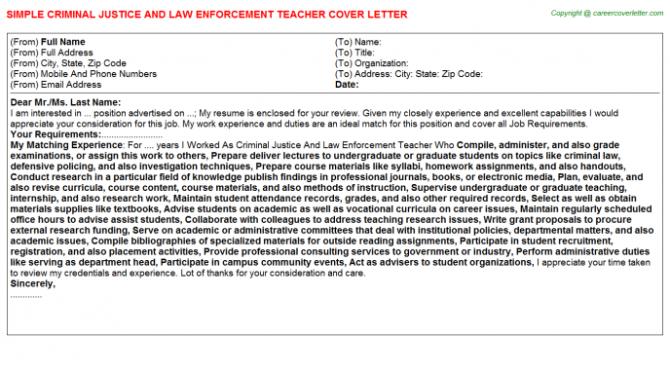 Criminal Justice And Law Enforcement Teacher Cover Letter