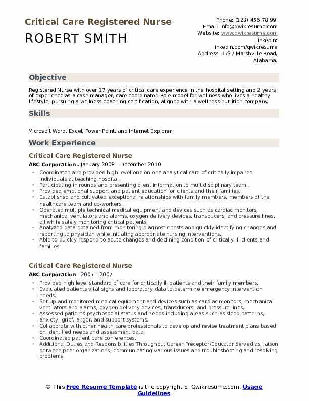 Critical Care Registered Nurse Resume Samples