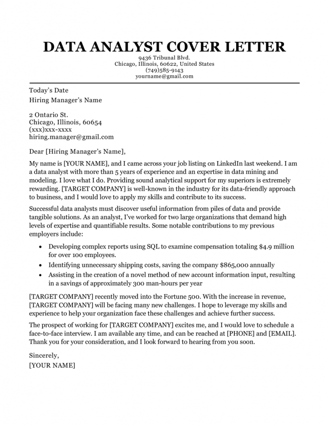 Data Analyst Cover Letter Sample