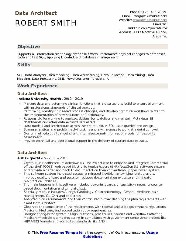 Data Architect Resume Samples