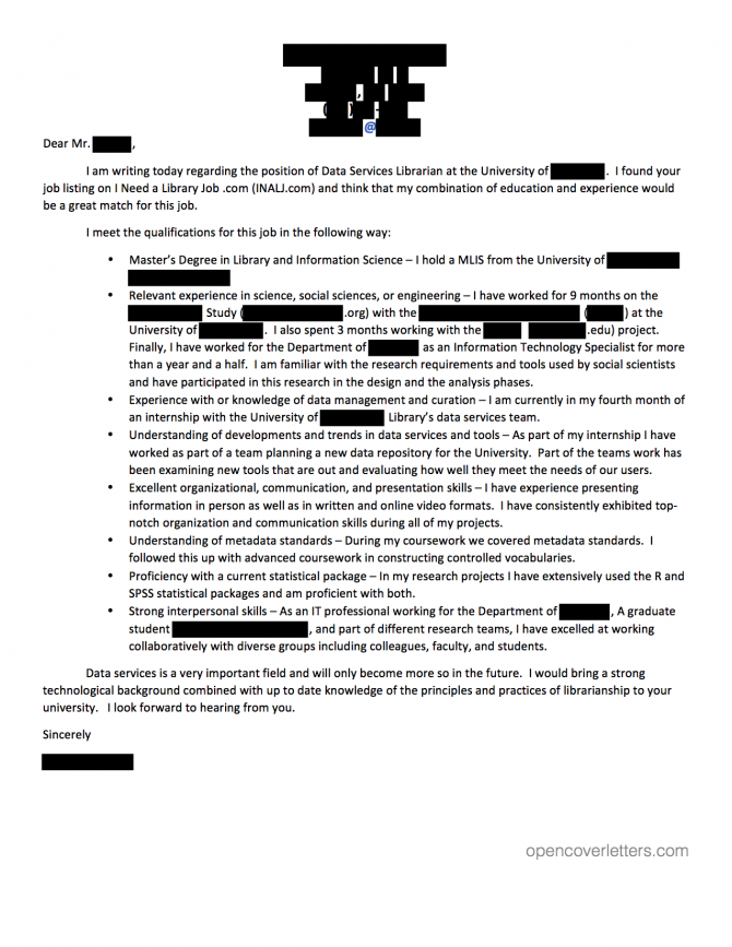 Data Services Librarian Cover Letter