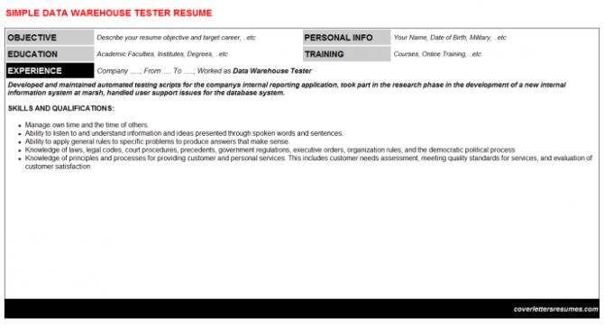 Data Warehouse Tester Job Cover Letter   Resume