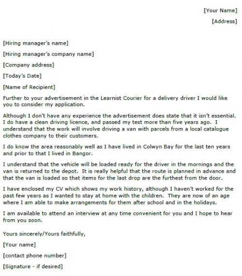 Delivery Driver Cover Letter Example