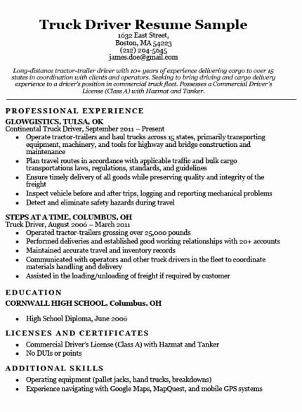 Delivery Driver Job Description Resume Best Of Truck Driver Resume