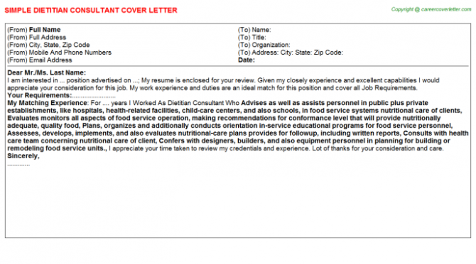Dietitian Consultant Cover Letters