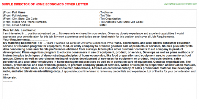 Director Of Home Economics Cover Letter