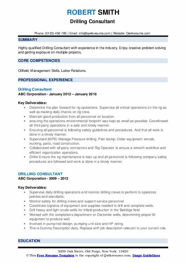 Drilling Consultant Resume Samples