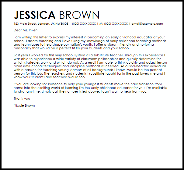 Early Childhood Educator Cover Letter Sample