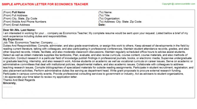 Economics Teacher Application Letters