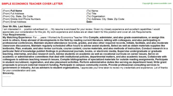 Economics Teacher Cover Letter