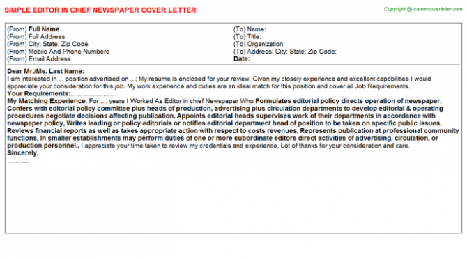 Editor In Chief Newspaper Cover Letter