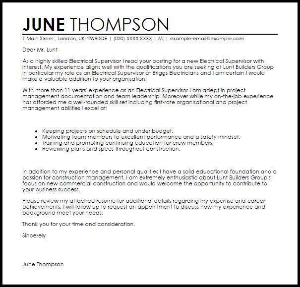 Electrical Supervisor Cover Letter Sample