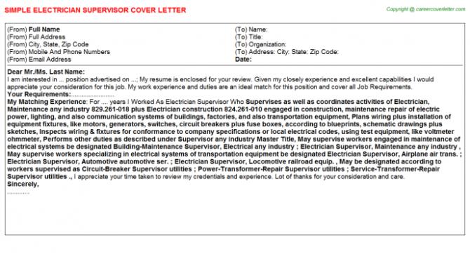 Electrician Supervisor Cover Letter