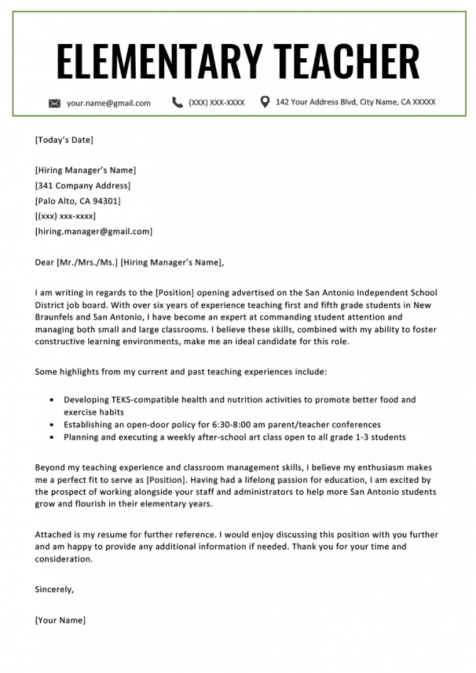Elementary Teacher Cover Letter Example Template