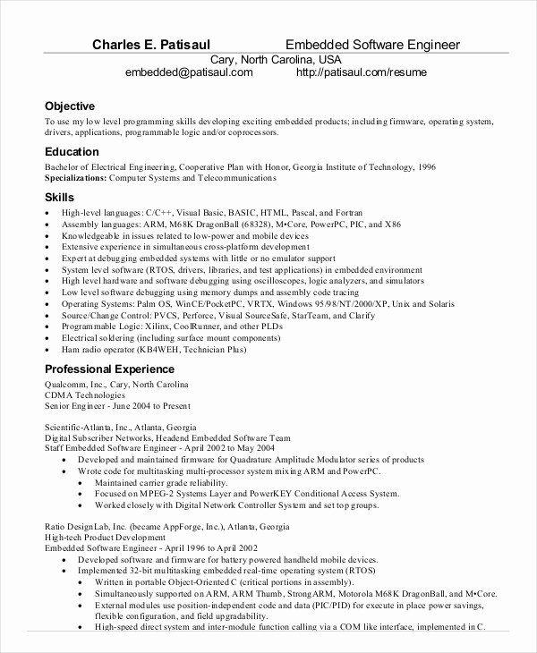 Embedded Software Engineer Resume Lovely Software Engineer Resume