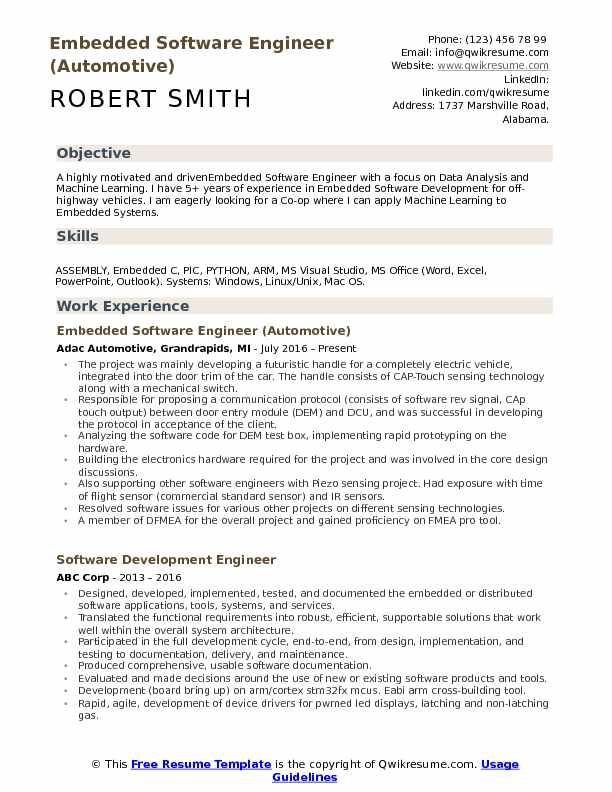 Embedded Software Engineer Resume Samples