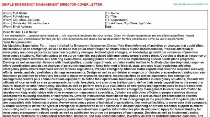 Emergency Management Director Cover Letter