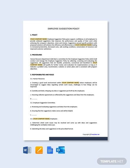 Employee Suggestion Policy Template In