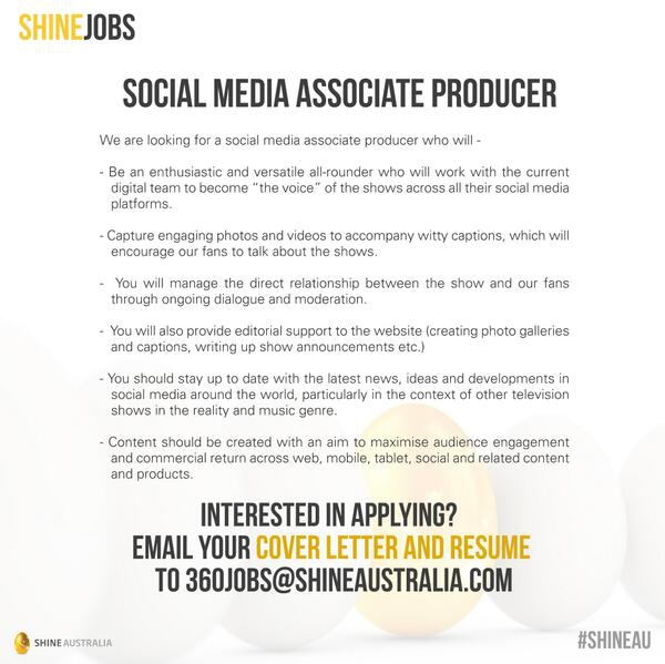 Endemol Shine Au On Twitter Seeking A Social Media Associate